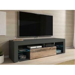 Тумба с подсветкой под ТВ Hugo антрацит/олд стайл светлый GF Furniture